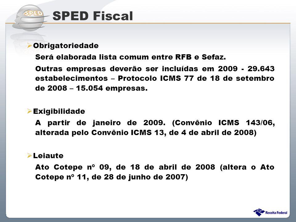 Sistema Público de Escrituração Digital  Obrigatoriedade Será elaborada lista comum entre RFB e Sefaz. Outras empresas deverão ser incluídas em 2009