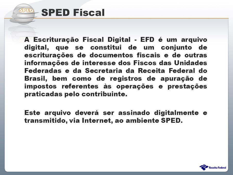 Sistema Público de Escrituração Digital SPED Fiscal A Escrituração Fiscal Digital - EFD é um arquivo digital, que se constitui de um conjunto de escri