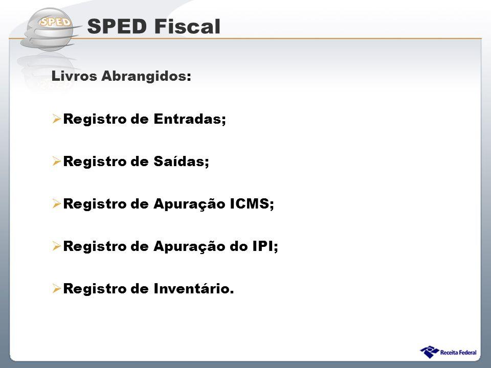 Sistema Público de Escrituração Digital Livros Abrangidos:  Registro de Entradas;  Registro de Saídas;  Registro de Apuração ICMS;  Registro de Ap