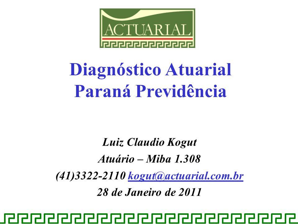 Luiz Claudio Kogut Atuário – Miba 1.308 (41)3322-2110 kogut@actuarial.com.br 28 de Janeiro de 2011 Diagnóstico Atuarial Paraná Previdência