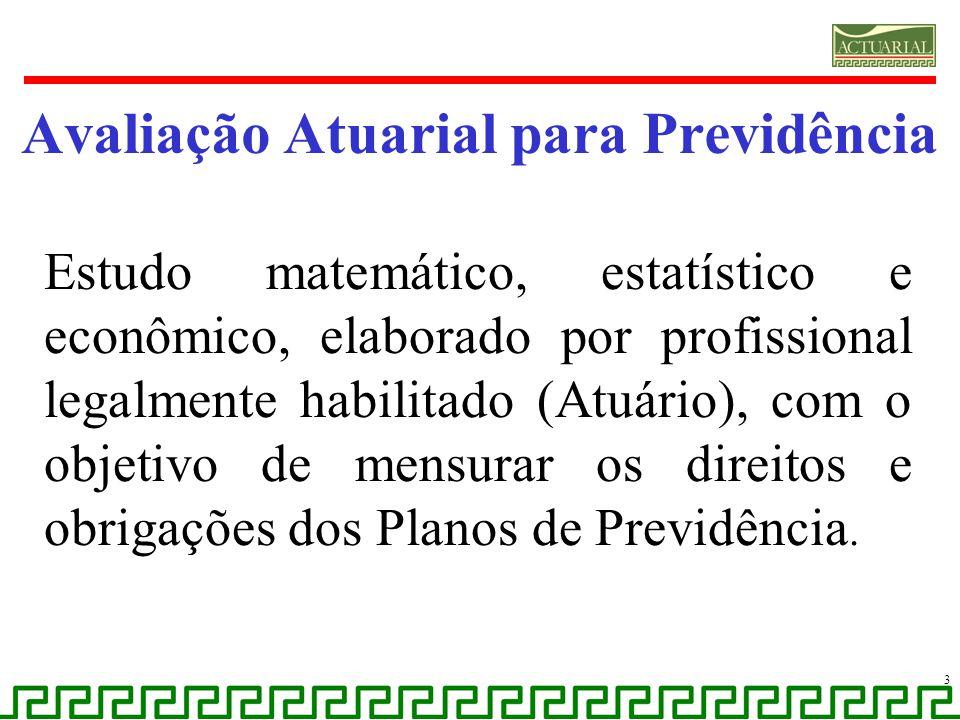Avaliação Atuarial para Previdência Estudo matemático, estatístico e econômico, elaborado por profissional legalmente habilitado (Atuário), com o obje
