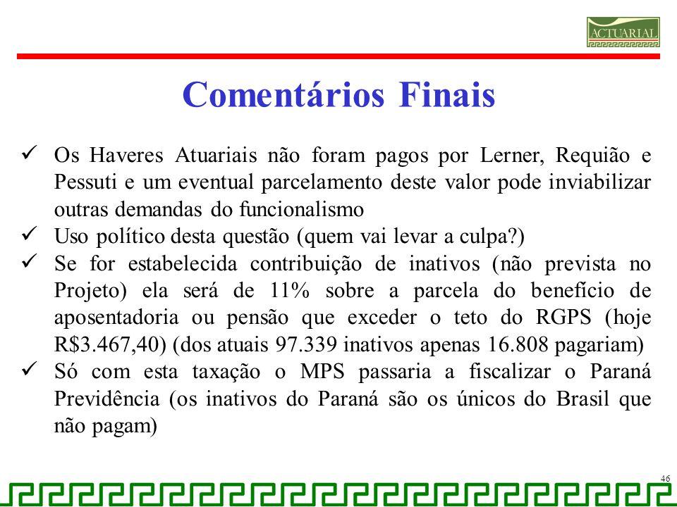 Comentários Finais Os Haveres Atuariais não foram pagos por Lerner, Requião e Pessuti e um eventual parcelamento deste valor pode inviabilizar outras