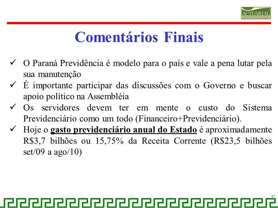 Comentários Finais O Paraná Previdência é modelo para o país e vale a pena lutar pela sua manutenção É importante participar das discussões com o Gove