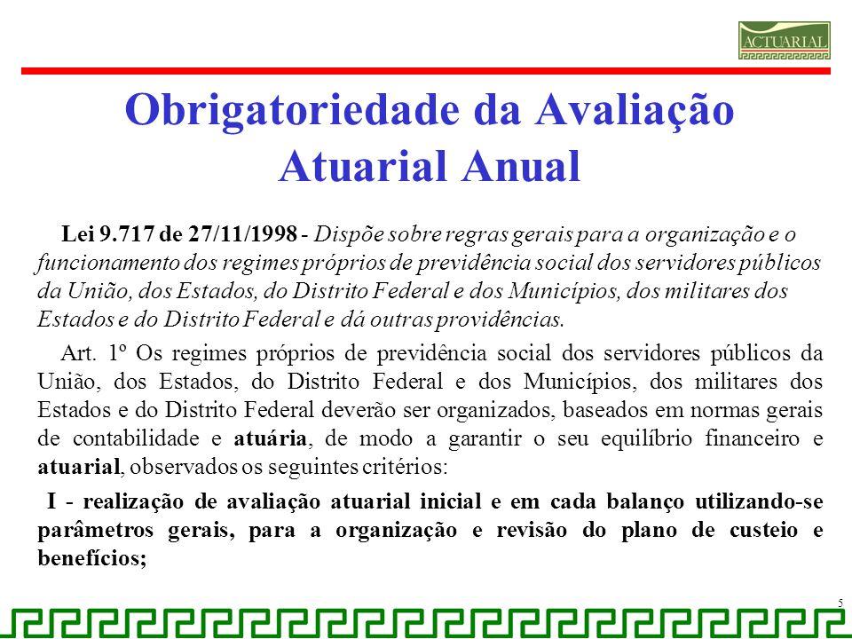 Obrigatoriedade da Avaliação Atuarial Anual Lei 9.717 de 27/11/1998 - Dispõe sobre regras gerais para a organização e o funcionamento dos regimes próp