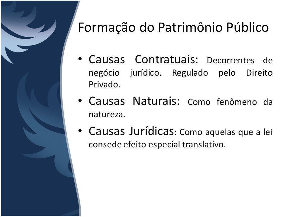 Formação do Patrimônio Público Causas Contratuais: Decorrentes de negócio jurídico. Regulado pelo Direito Privado. Causas Naturais: Como fenômeno da n