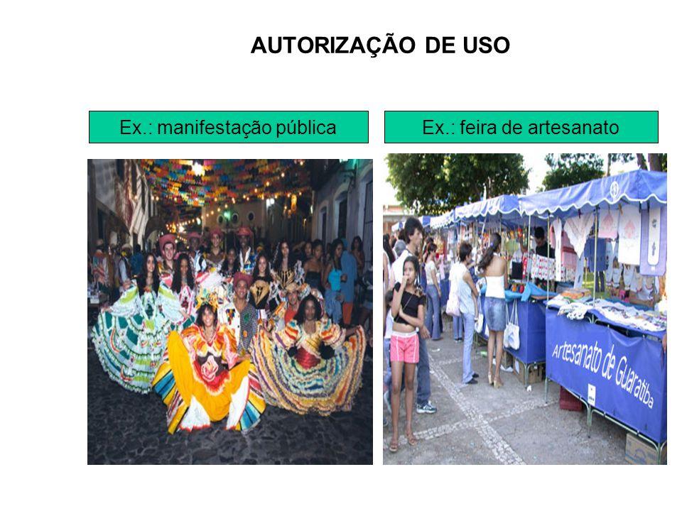 AUTORIZAÇÃO DE USO Ex.: feira de artesanatoEx.: manifestação pública