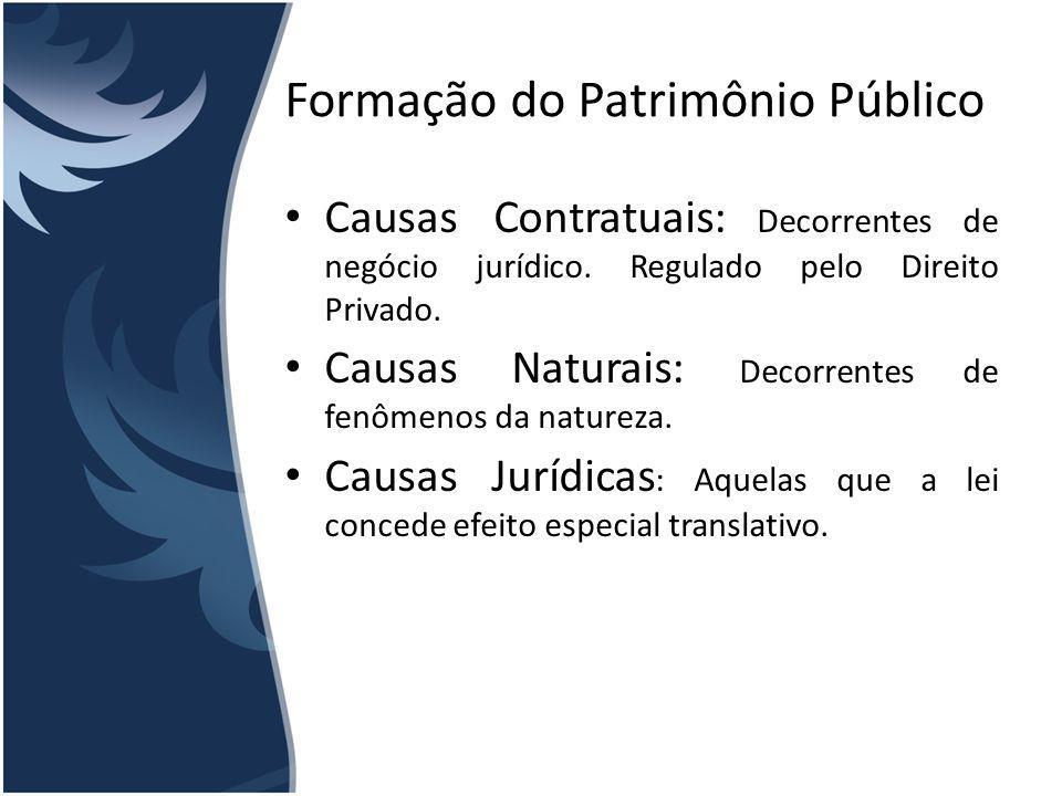 Formação do Patrimônio Público Causas Contratuais: Decorrentes de negócio jurídico. Regulado pelo Direito Privado. Causas Naturais: Decorrentes de fen