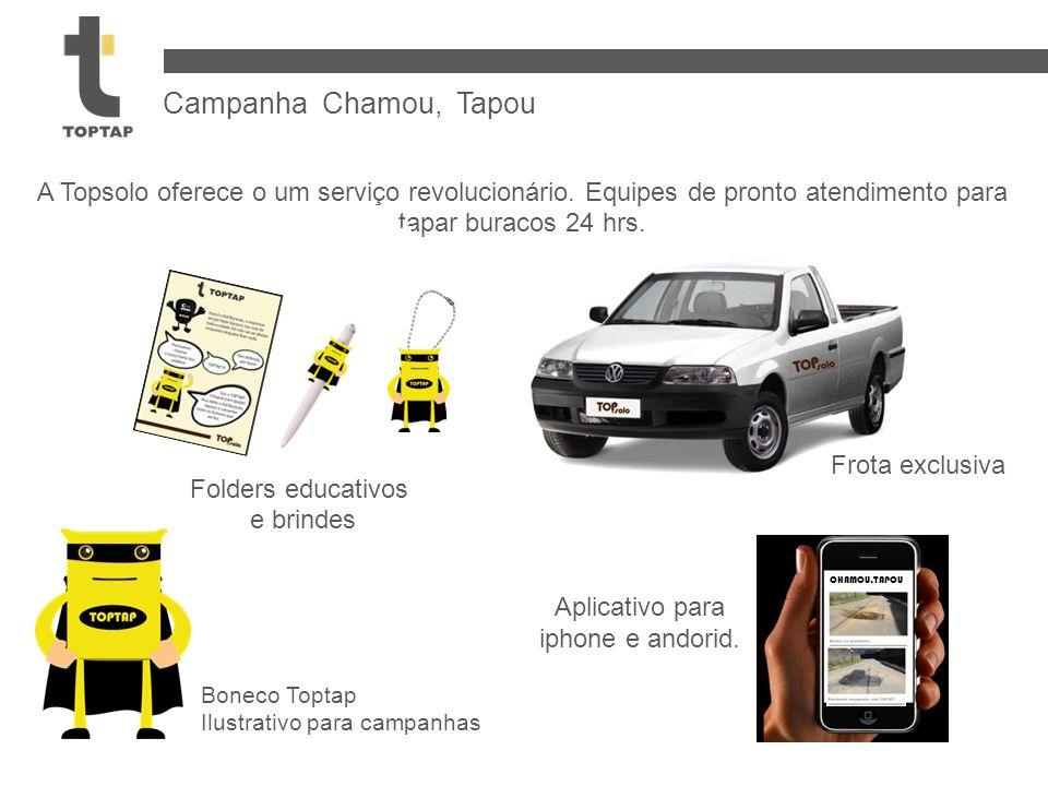 Campanha Chamou, Tapou A Topsolo oferece o um serviço revolucionário. Equipes de pronto atendimento para tapar buracos 24 hrs. Frota exclusiva Folders