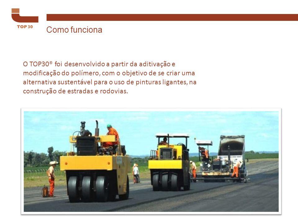 O TOP30® foi desenvolvido a partir da aditivação e modificação do polímero, com o objetivo de se criar uma alternativa sustentável para o uso de pinturas ligantes, na construção de estradas e rodovias.
