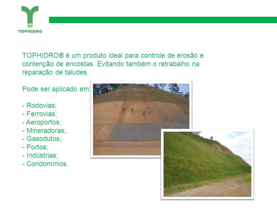 TOPHIDRO® é um produto ideal para controle de erosão e contenção de encostas.