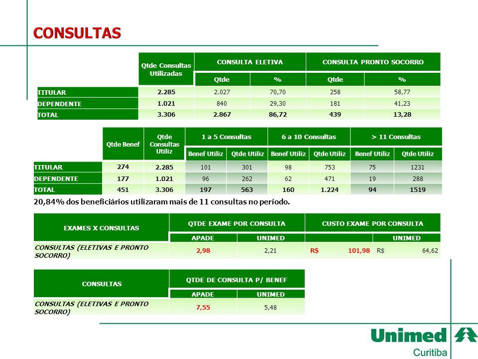 Qtde Consultas Utilizadas CONSULTA ELETIVACONSULTA PRONTO SOCORRO Qtde% % TITULAR2.2852.02770,7025858,77 DEPENDENTE1.02184029,3018141,23 TOTAL3.3062.8