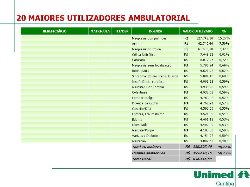 BENEFICIÁRIO MATRICULA TIT/DEPDOENÇAVALOR UTILIZADO% Neoplasia dos pulmões R$ 127.748,3015,27% Artrite R$ 62.740,467,50% Neoplasia do Cólon R$ 61.639,