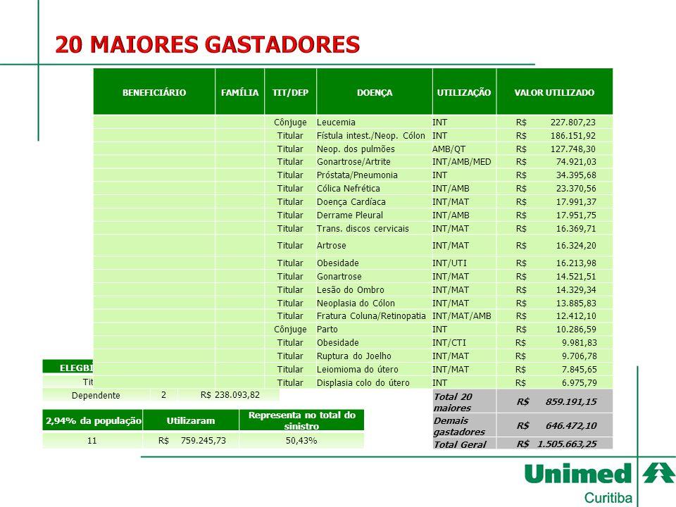 ELEGBILIDADE DOS 20 MAIS GASTADORES Titular18 R$ 621.097,33 Dependente2 R$ 238.093,82 2,94% da populaçãoUtilizaram Representa no total do sinistro 11