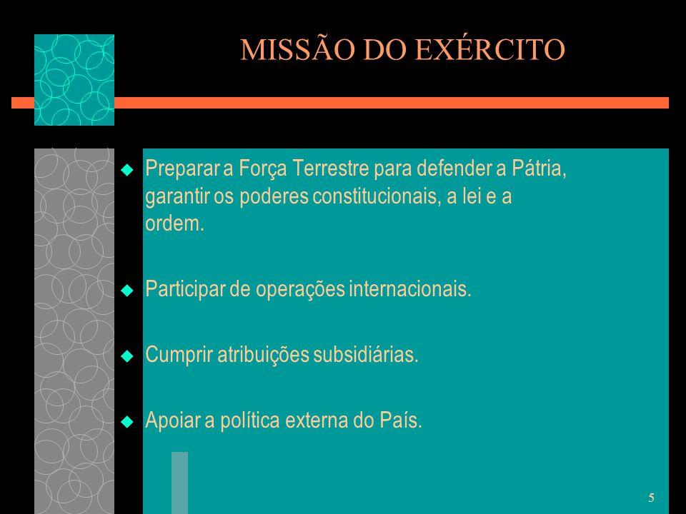 5 MISSÃO DO EXÉRCITO  Preparar a Força Terrestre para defender a Pátria, garantir os poderes constitucionais, a lei e a ordem.  Participar de operaç