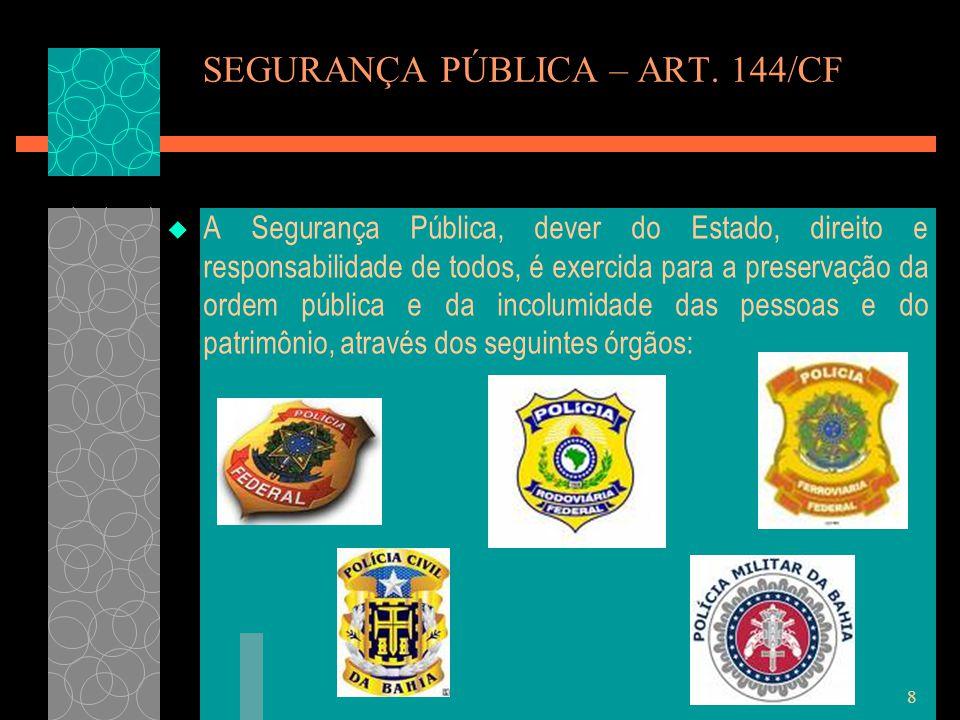 8 SEGURANÇA PÚBLICA – ART. 144/CF  A Segurança Pública, dever do Estado, direito e responsabilidade de todos, é exercida para a preservação da ordem