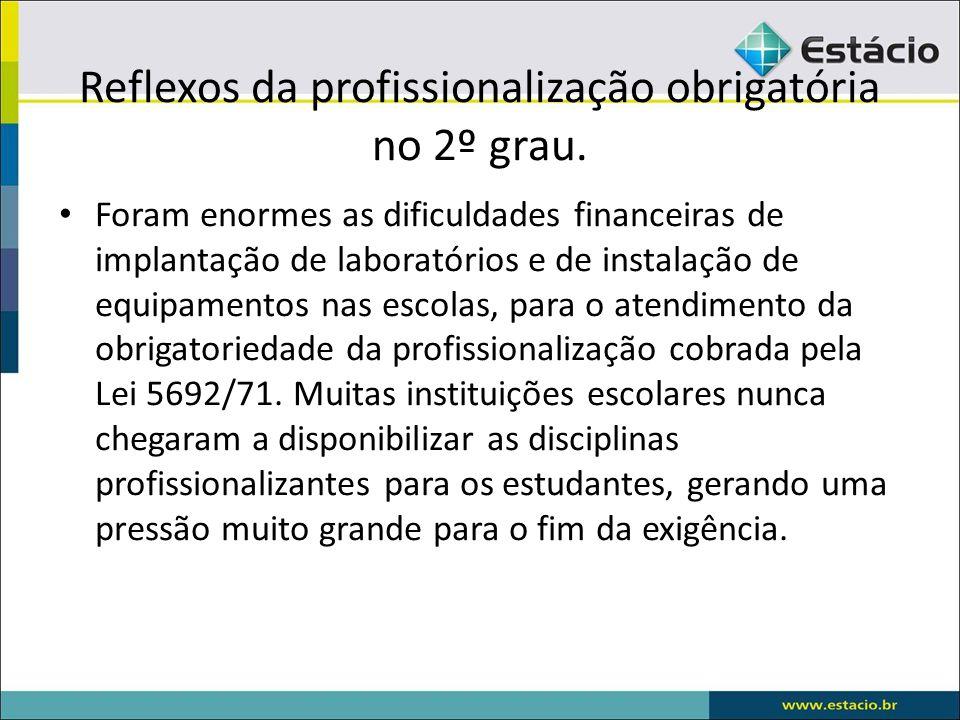 Reflexos da profissionalização obrigatória no 2º grau.