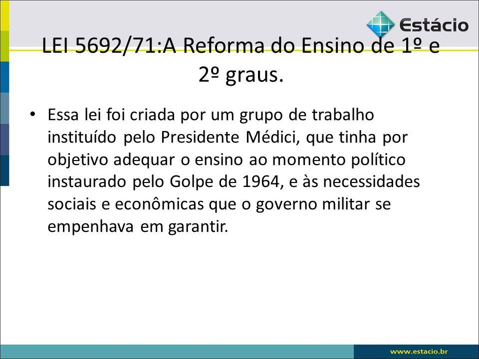 LEI 5692/71:A Reforma do Ensino de 1º e 2º graus.