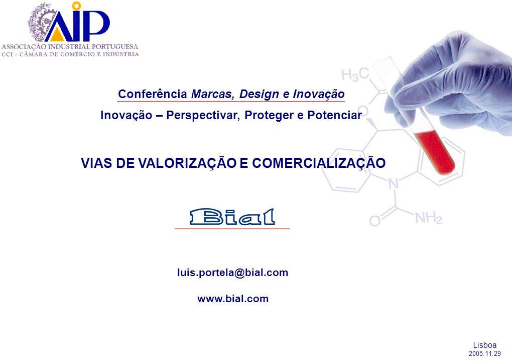 luis.portela@bial.com www.bial.com Lisboa 2005.11.29 Conferência Marcas, Design e Inovação Inovação – Perspectivar, Proteger e Potenciar VIAS DE VALORIZAÇÃO E COMERCIALIZAÇÃO