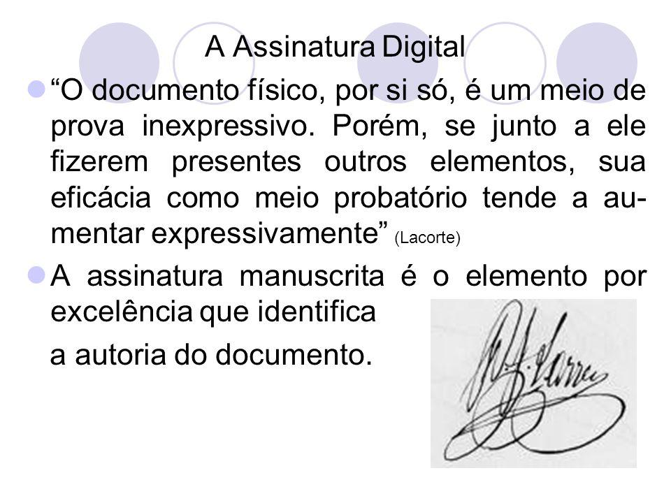 A Assinatura Digital O documento físico, por si só, é um meio de prova inexpressivo.
