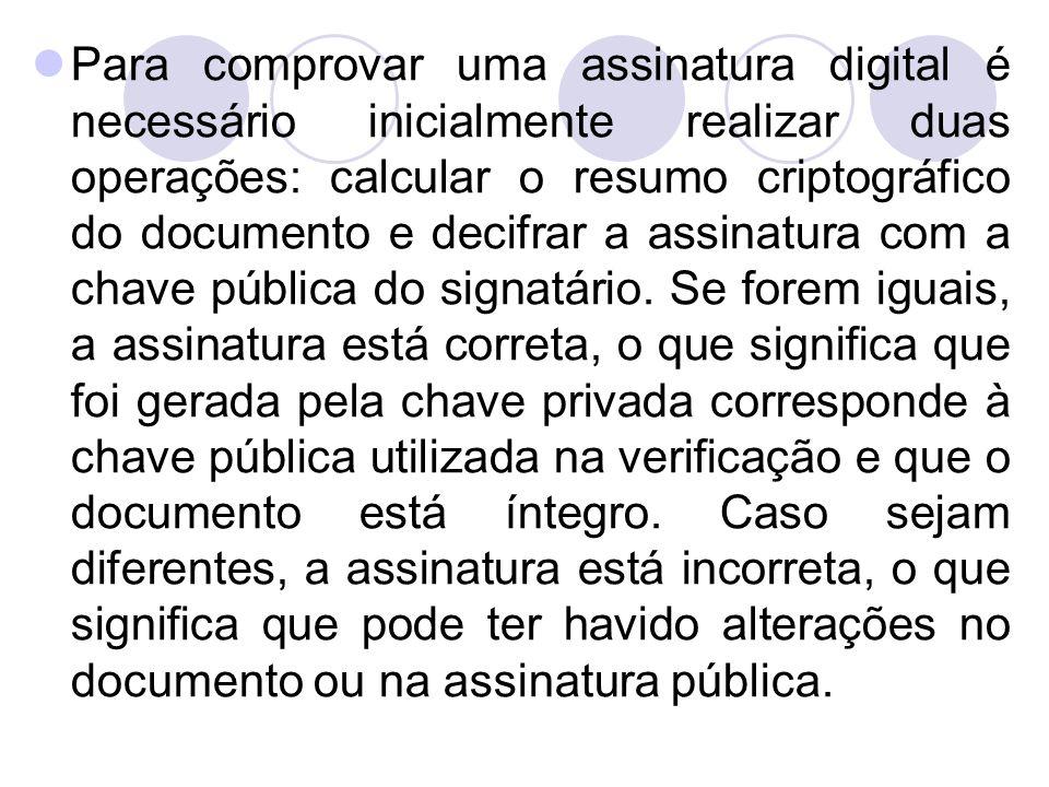 Para comprovar uma assinatura digital é necessário inicialmente realizar duas operações: calcular o resumo criptográfico do documento e decifrar a assinatura com a chave pública do signatário.