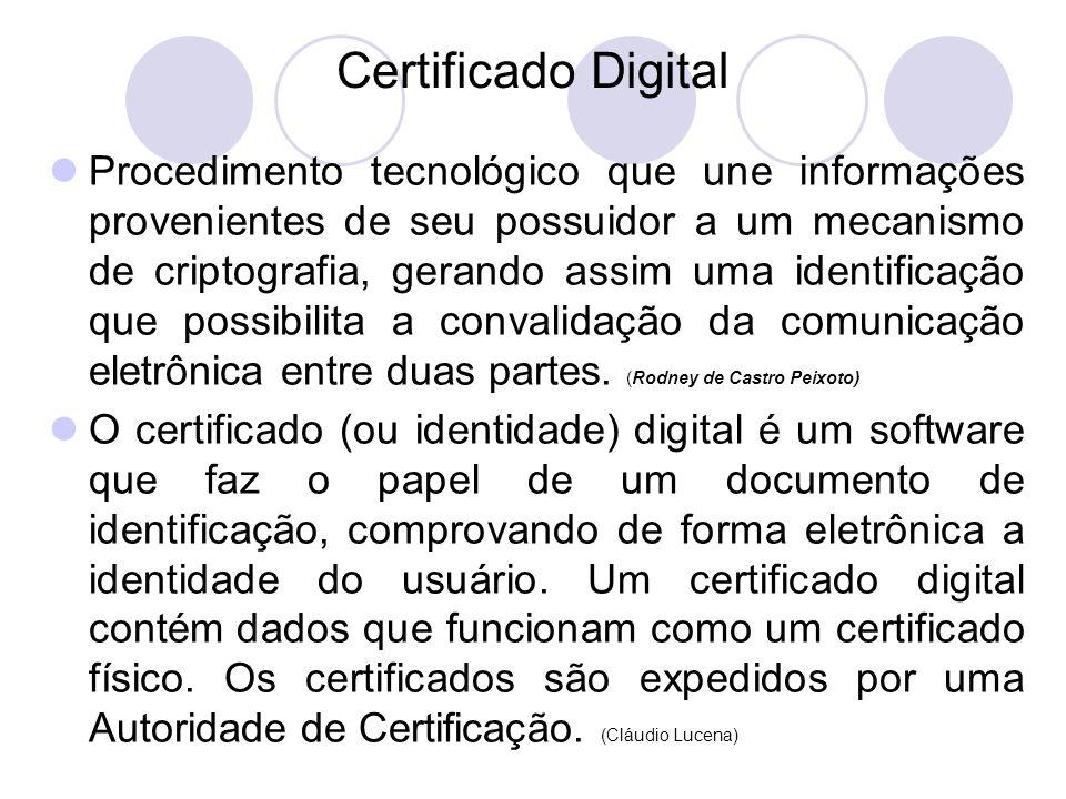 Certificado Digital Procedimento tecnológico que une informações provenientes de seu possuidor a um mecanismo de criptografia, gerando assim uma identificação que possibilita a convalidação da comunicação eletrônica entre duas partes.