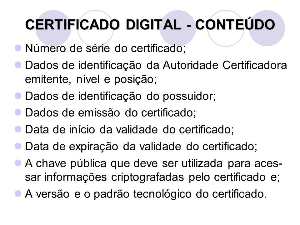 Número de série do certificado; Dados de identificação da Autoridade Certificadora emitente, nível e posição; Dados de identificação do possuidor; Dados de emissão do certificado; Data de início da validade do certificado; Data de expiração da validade do certificado; A chave pública que deve ser utilizada para aces- sar informações criptografadas pelo certificado e; A versão e o padrão tecnológico do certificado.