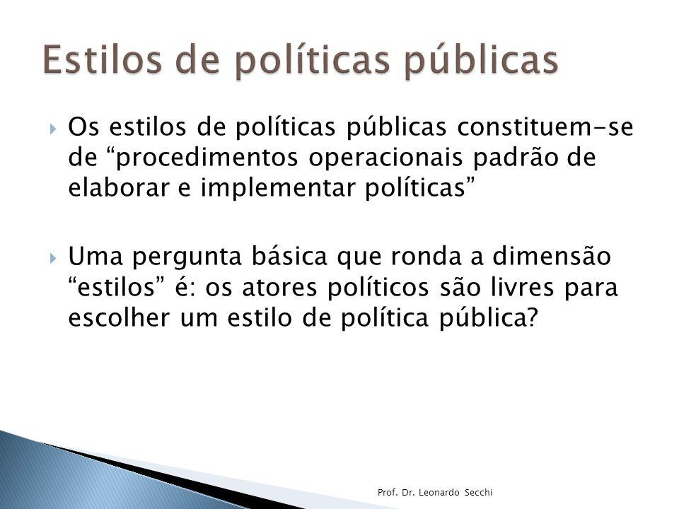  Segundo esses autores, os estilos de política pública variam de acordo com ◦ A abordagem na resolução de problemas (de proativo a reativo); ◦ A relação entre atores governamentais e atores sociais (consensual a impositivo).