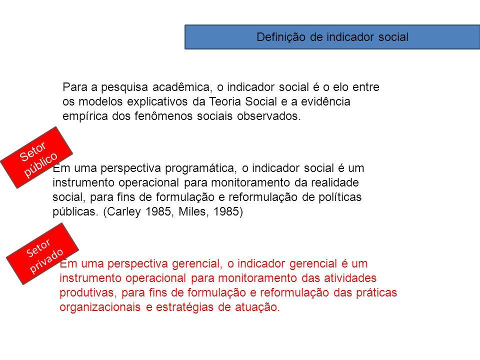 Para a pesquisa acadêmica, o indicador social é o elo entre os modelos explicativos da Teoria Social e a evidência empírica dos fenômenos sociais obse
