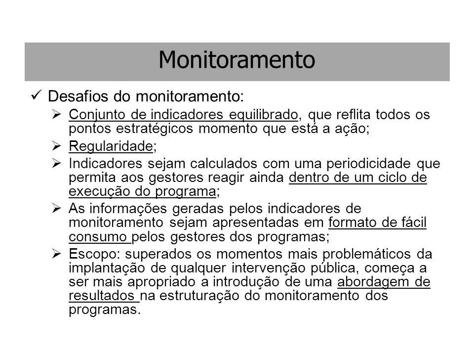 Monitoramento Desafios do monitoramento:  Conjunto de indicadores equilibrado, que reflita todos os pontos estratégicos momento que está a ação;  Re
