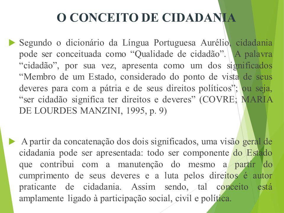  Segundo o dicionário da Língua Portuguesa Aurélio, cidadania pode ser conceituada como Qualidade de cidadão .