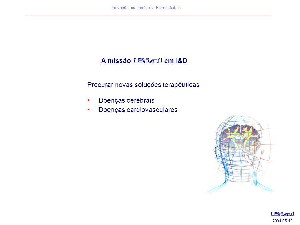 2004.05.18 Inovação na Indústria Farmacêutica Procurar novas soluções terapêuticas Doenças cerebrais Doenças cardiovasculares A missão em I&D