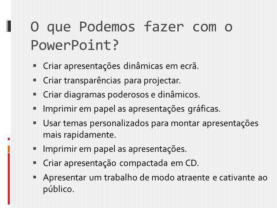 O que Podemos fazer com o PowerPoint?  Criar apresentações dinâmicas em ecrã.  Criar transparências para projectar.  Criar diagramas poderosos e di