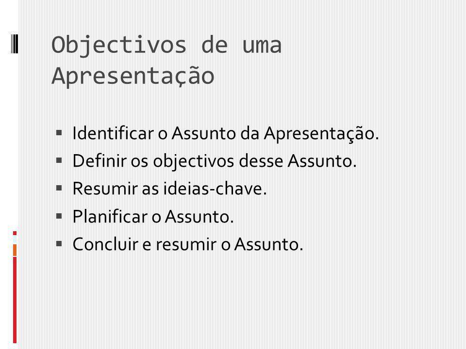 Objectivos de uma Apresentação  Identificar o Assunto da Apresentação.  Definir os objectivos desse Assunto.  Resumir as ideias-chave.  Planificar