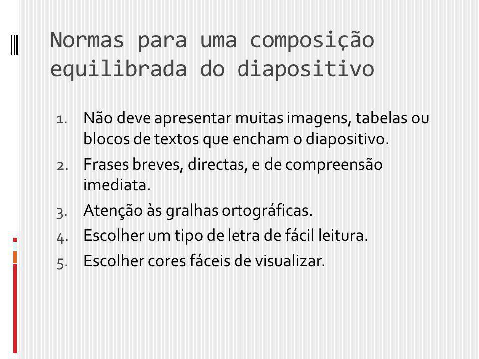 Normas para uma composição equilibrada do diapositivo 1. Não deve apresentar muitas imagens, tabelas ou blocos de textos que encham o diapositivo. 2.