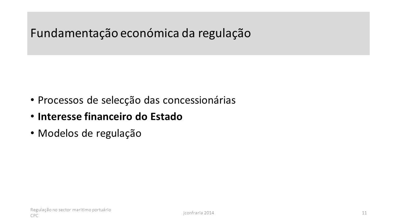 Fundamentação económica da regulação Processos de selecção das concessionárias Interesse financeiro do Estado Modelos de regulação Regulação no sector maritimo portuário CPC jconfraria 201411