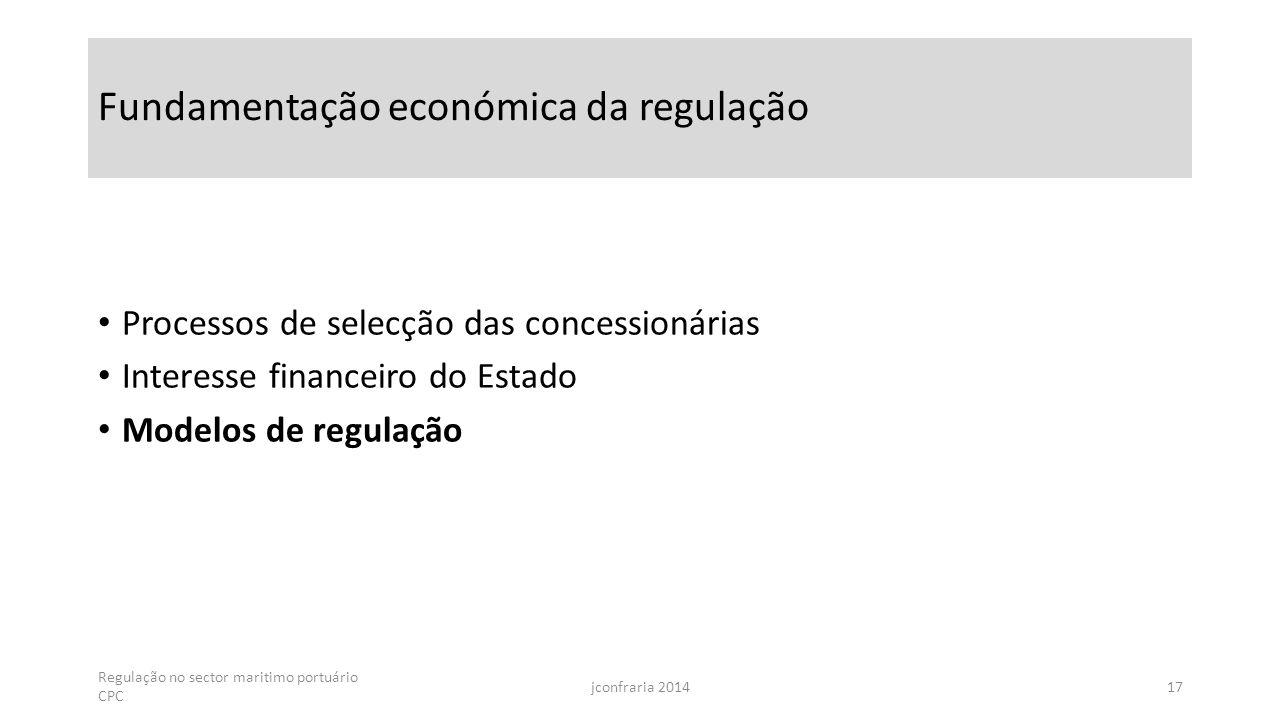 Fundamentação económica da regulação Processos de selecção das concessionárias Interesse financeiro do Estado Modelos de regulação Regulação no sector maritimo portuário CPC jconfraria 201417