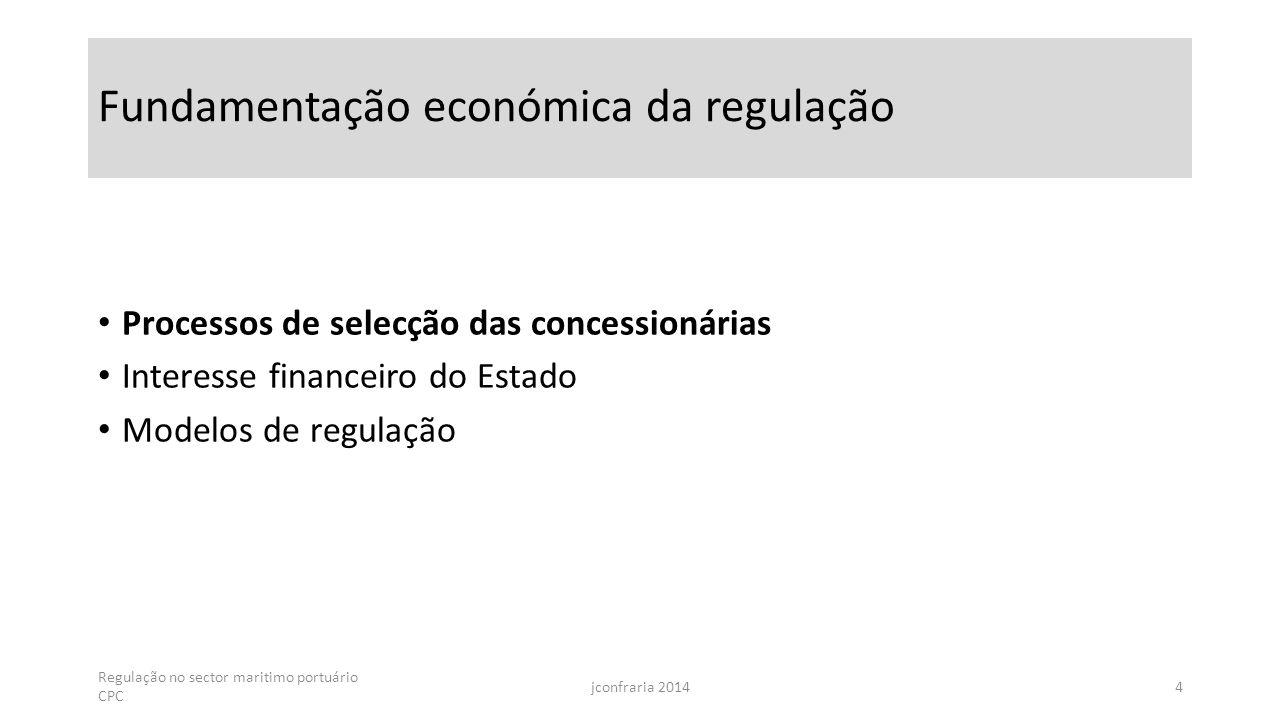 Fundamentação económica da regulação Processos de selecção das concessionárias Interesse financeiro do Estado Modelos de regulação Regulação no sector maritimo portuário CPC jconfraria 20144