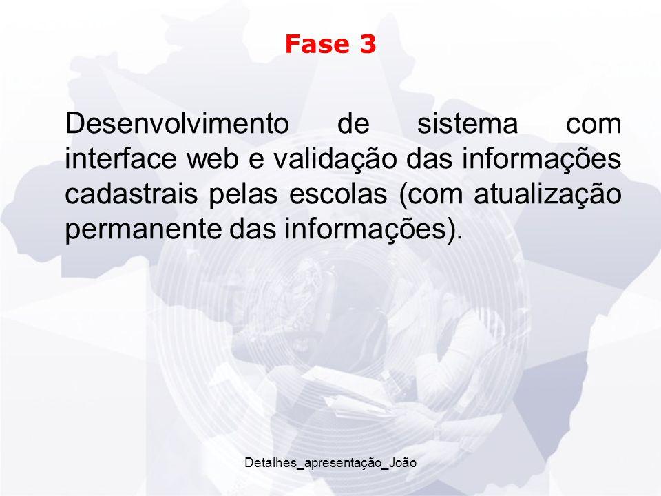 Detalhes_apresentação_João Fase 3 Desenvolvimento de sistema com interface web e validação das informações cadastrais pelas escolas (com atualização permanente das informações).