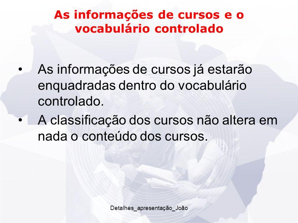 As informações de cursos e o vocabulário controlado As informações de cursos já estarão enquadradas dentro do vocabulário controlado.