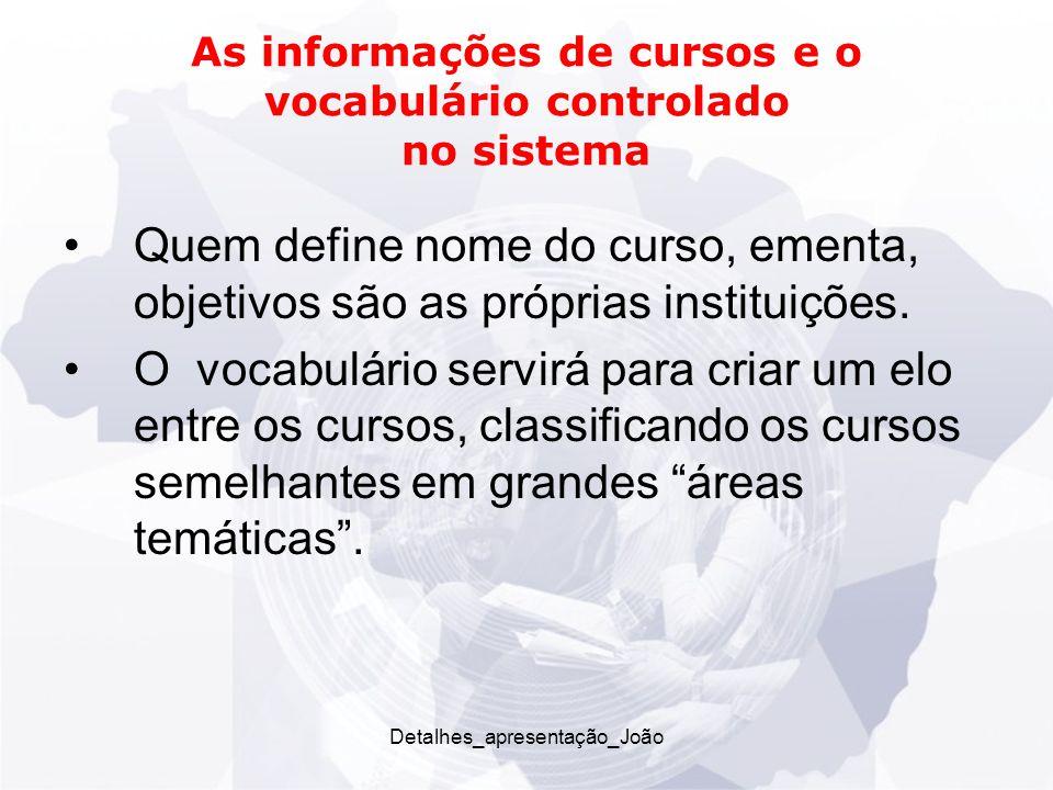 As informações de cursos e o vocabulário controlado no sistema Quem define nome do curso, ementa, objetivos são as próprias instituições.