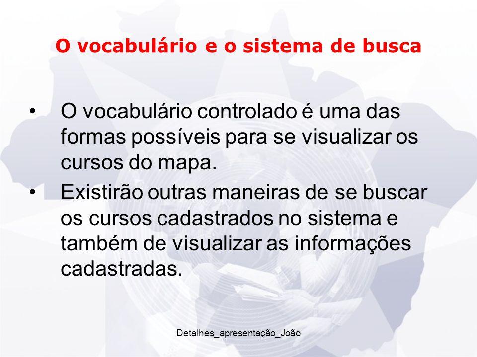 O vocabulário e o sistema de busca O vocabulário controlado é uma das formas possíveis para se visualizar os cursos do mapa.