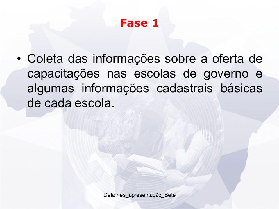 Detalhes_apresentação_Bete Fase 1 Coleta das informações sobre a oferta de capacitações nas escolas de governo e algumas informações cadastrais básicas de cada escola.