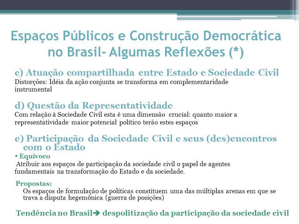 c) Atuação compartilhada entre Estado e Sociedade Civil Distorções: Idéia da ação conjunta se transforma em complementaridade instrumental d) Questão