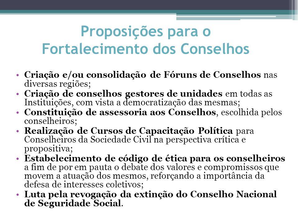 Proposições para o Fortalecimento dos Conselhos Criação e/ou consolidação de Fóruns de Conselhos nas diversas regiões; Criação de conselhos gestores d