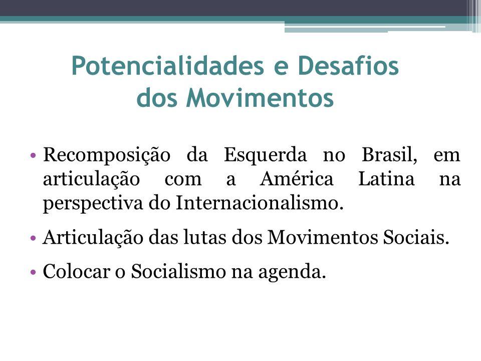 Potencialidades e Desafios dos Movimentos Recomposição da Esquerda no Brasil, em articulação com a América Latina na perspectiva do Internacionalismo.