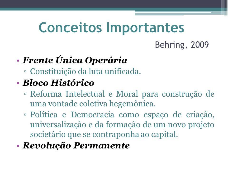 Conceitos Importantes Behring, 2009 Frente Única Operária ▫Constituição da luta unificada. Bloco Histórico ▫Reforma Intelectual e Moral para construçã