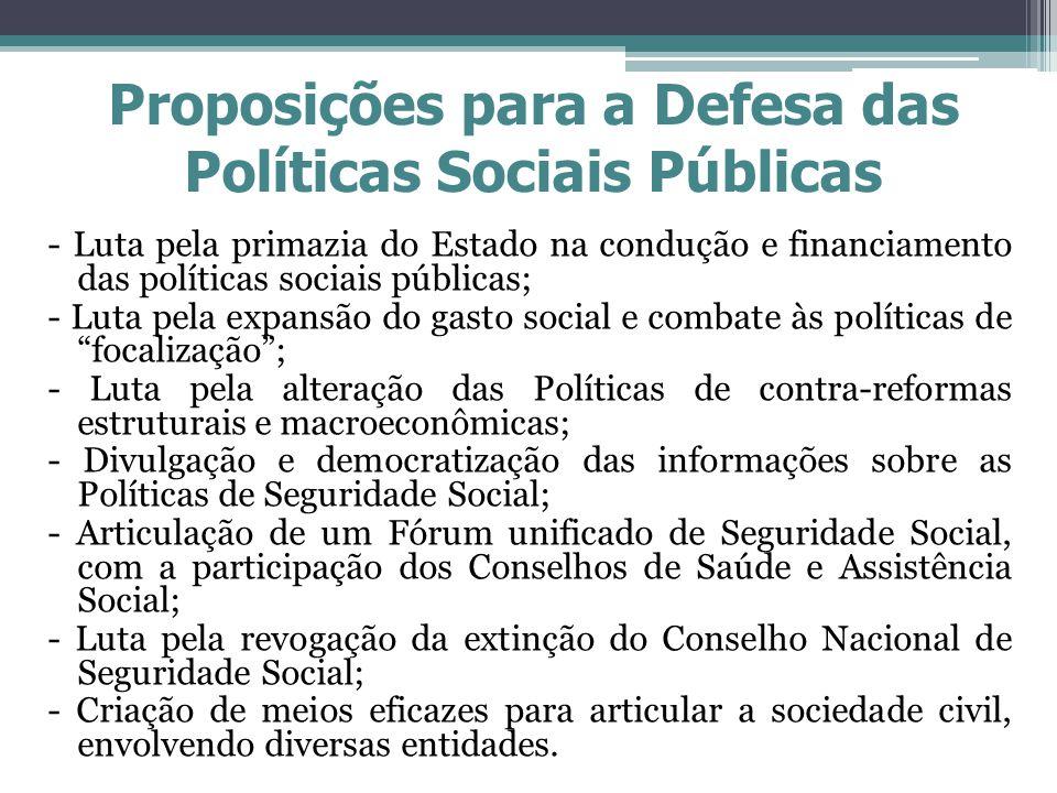 Proposições para a Defesa das Políticas Sociais Públicas - Luta pela primazia do Estado na condução e financiamento das políticas sociais públicas; -
