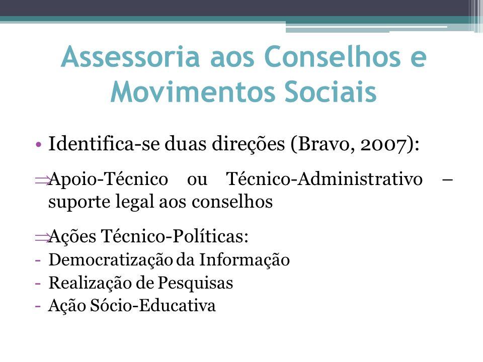 Assessoria aos Conselhos e Movimentos Sociais Identifica-se duas direções (Bravo, 2007):  Apoio-Técnico ou Técnico-Administrativo – suporte legal aos conselhos  Ações Técnico-Políticas: -Democratização da Informação -Realização de Pesquisas -Ação Sócio-Educativa