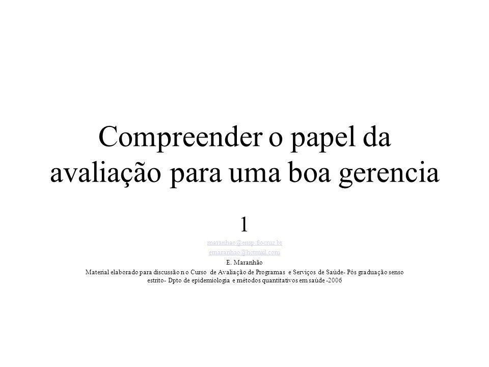 Compreender o papel da avaliação para uma boa gerencia 1 maranhao@ensp.fiocruz.br emaranhao@hotmail.com E.