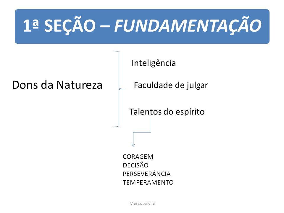 1ª SEÇÃO – FUNDAMENTAÇÃO Dons da Natureza Inteligência Faculdade de julgar Talentos do espírito CORAGEM DECISÃO PERSEVERÂNCIA TEMPERAMENTO Marco André